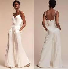 Designer Jumpsuit White Designer Jumpsuit Bridesmaid Dresses For Wedding Sexy Spaghetti Neck Backless Evening Gowns Simple Plus Size Pant Suit
