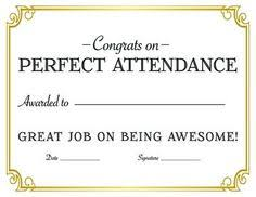 Education Certificate Perfect Attendance Award Certificate