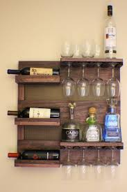NoChristmasDeliverySale Rustic Dark Cherry Stained Wall Mounted Wine Rack  with Shelves and Decorative Mesh, Wine and Liquor Shelf and Cabine