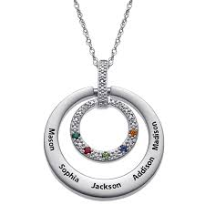 simulated birthstone and diamond accent circle pendant in sterling silver and stainless steel 5 stones and names