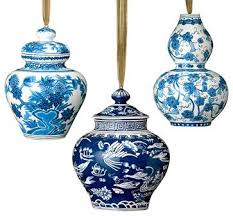 This fabulous set of blue and white Christmas ornaments is a must for the  lover of