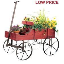 decorative garden wagon wood wagon wheel decorative planter bed garden flower pot cart rustic outdoor decorative garden carts wagons
