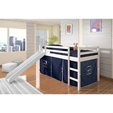 bunk bed with slide and tent. Twin Tent Loft Bed With Slide Finish: White, Color: Blue Bunk And E