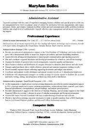 Sample Resume For Administrative Assistant Administrative Assistant