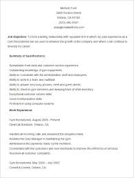 Sample Gym Resume Template