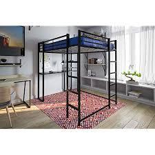 Image Dresser Underneath Dhp Abode Fullsize Loft Bed Metal Frame With Desk And Ladder Black Amazoncom Beds With Desks Underneath Amazoncom