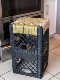 how to make a woven milk crate stool