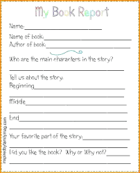 To Second Grade Book Report Template Free Printable Third 4th