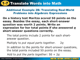 translate words into math warm up evaluate each algebraic  1 7 translate words into math on a history test maritza scored 50 points on