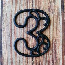 Decorative House Numbers House Number Three Cast Iron Wall Hangers Decorative Victorian