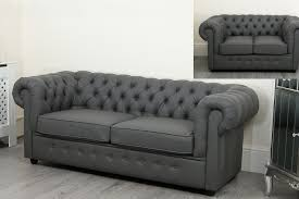 more views empire chesterfield sofa suite 3 2 and 1 seater grey faux leather