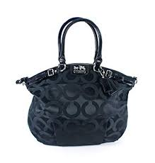 Coach Signature Madison Op Art Sateen Lindsey Satchel Bag Purse Tote 18649  Black