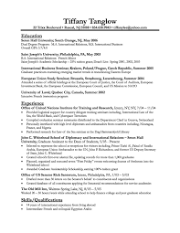 Finance Student Resume Resume Business Student Tiffany Tanglow