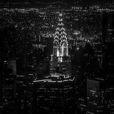 chrysler building black and white at night. chrysler building black and white at night