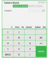Decimal To Fraction Calculator Chart Fraction To Decimal Calculator