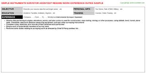 Instruments Surveyor Assistant Resume