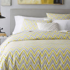 Zigzag Yellow and Grey Duvet Cover and Shams & Pop Yellow and Grey Zigzag Duvet Cover and Shams Adamdwight.com
