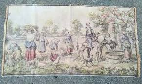 vintage tapestry wall hangings antique italian indian hanging rug people farm scene man on horse kids