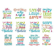 Free Machine Embroidery Sayings Designs Sweet Sayings Set 2 Embroidery Crewel Embroidery Kits