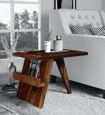 aura solid wood end table in