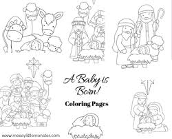 This one is of a stained glass church window of joseph, mary, and jesus receiving the magi. Nativity Coloring Pages Messy Little Monster