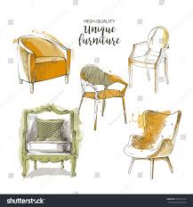 furniture sale ads. Set Of Hand Drawn Furniture And Interior Detail Chairs Vector Sketch Store, Apartment, Promotion Sale Ads B