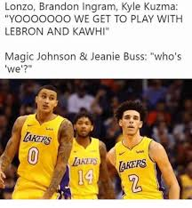 Kyle kuzma pictures on instagram: Lonzo Brandon Ingram Kyle Kuzma Yooooooo We Get To Play With Lebron And Kawhi Magic Johnson Jeanie Buss Who S We Akers ใน Ish Akers 14 Akers 2 Magic Johnson Meme