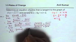 determine equation of tangent on square root graph parallel to given line first principles