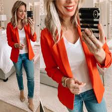 Light Orange Blazer Dressing Room Part 2 Orange Blazer Outfits Red Blazer