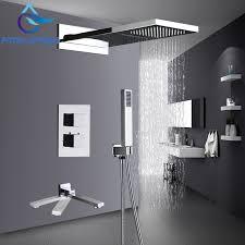 polished chrome wall mount waterfall spout head shower