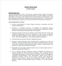 Office Manager Job Description Template Construction Office Manager