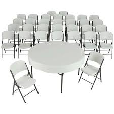 lifetime 80458 32 white chairs and 4 60 round tables set commercial grade combo