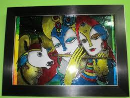 krishna radha glass painting