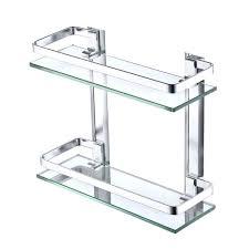 glass shelf with rail aluminum bathroom glass rectangular shelf wall mound double deck new glass shelf