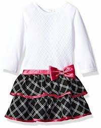 Youngland Little Girls Crochet Bodice Knit To Woven Plaid