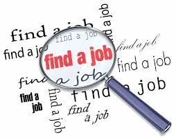 job search a magnifying glass hovering over the words a job