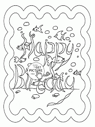 Small Picture Underwater Happy Birthday coloring page for kids holiday coloring