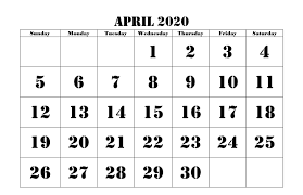 April 2020 Template April 2020 Calendar Pdf Word Excel Template