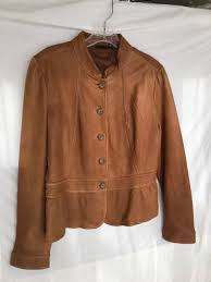 a n a women s l leather jacket moto w ruffle coat caramel brown size large ana