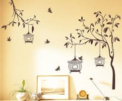 stickerskart wall stickers tree with birds and cages brown 140cm x 110cm