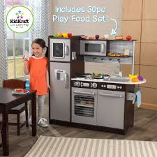 Play Kitchen Kidkraft Uptown Espresso Wooden Play Kitchen With 30 Pc Play Food