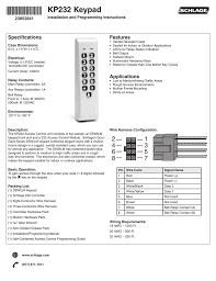 Installation Instructions Schlage Kp232 Keypad Manualzz Com