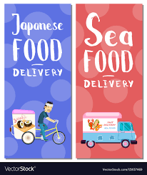 seafood delivery flyers Royalty Free Vector