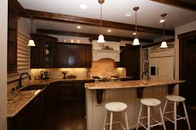 captivating two tone country kitchen cabinets with white and dark brown wood tone also white stools