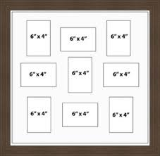 large multi aperture picture frame fits 8x6 9 photos cream mount made in uk gold