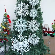 4pcs 8-28CM Snowflake Christmas Tree Decoration Ornaments 2D Flat  Snowflakes Glitter Twisted Effect Optional Size