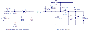 12v 120ma switch mode power supply using lnk304 12v switch mode power supply