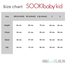 Sookibaby Size Chart Baby And Toddler Clothing Annie And