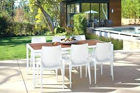 wood top white frame outdoor dining table patio with umbrella hole metal