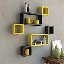 Image Lcd Wall Buy Rjkart Wall Rack Shelve standard Size Black And Yellow Set Of Online At Low Prices In India Amazonin Amazonin Buy Rjkart Wall Rack Shelve standard Size Black And Yellow Set
